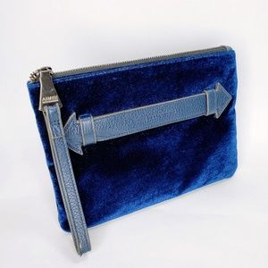 Aimee Kestenberg Blue Velvet Zipped Clutch Purse